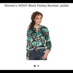WDNY Women's Paisley Bomber Jacket NWT